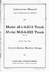 International Harvester Model M-1-1-214 and M-2-4-233 Truck Instruction Manual and Lubrication Chart