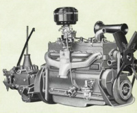 The manifold side of the new Green Diamond engine, showing the efficient, oil-bath-type air cleaner mounted directly over the downdraft-type carburetor; scientifically designed manifolds; crankcase breathers; and improved fuel pump. The inverted-type fuel pump is a safeguard against vapor lock and provides a constant supply of fuel under all operating conditions. In the glass-bowl settling chamber a fine mesh screen assures clean fuel.
