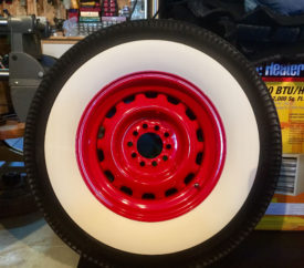 Wheel Smith Red Artillery Rim With Coker White Walls