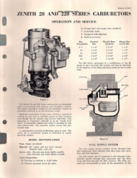 Zenith 28 and 228 Series Carburetors - Operation and Service