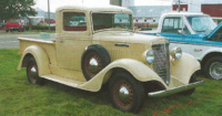 With a flat radiator and square cab, it is evident this 1935 International C-1 pickup, owned by Lloyd Boyer, preceded the Art-Deco-influenced D-Series.