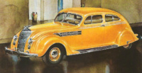 The 1934 Chrysler Airflow sedan perfectly demonstrates the streamline and aerodynamic lines of Streamline Moderne design.